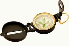 Zwart kompas op wit Stock Afbeeldingen