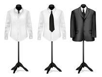 Zwart kostuum en wit overhemd op ledenpoppen. Vector. Stock Fotografie