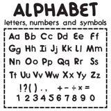 Zwart Latijns die alfabet op witte achtergrond wordt geïsoleerd Royalty-vrije Stock Afbeelding