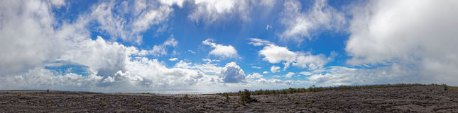 Zwart lavalandschap - Kilauea-Vulkaan, Hawaï Stock Foto