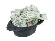 Zwart Leer Fedora Hat Full van Geld Royalty-vrije Stock Fotografie