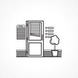 Zwart lijnpictogram voor bureaudeur Stock Afbeelding