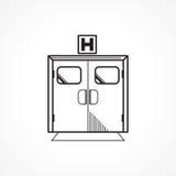 Zwart lijnpictogram voor de deur van de het ziekenhuisingang Stock Fotografie
