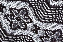 Zwart materieel de textuur macroschot van het bloemenkant Royalty-vrije Stock Afbeeldingen