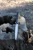 Zwart mes met scherpe blad houten stompen Mes Stock Fotografie