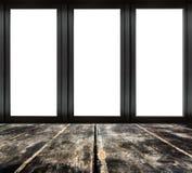 Zwart metaalraamkozijn op houten vloer Stock Foto