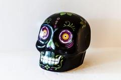 Zwart Mini Sugar Skull Top Angle View royalty-vrije stock foto