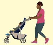 Zwart Moeder en Kind in Wandelwagen stock illustratie