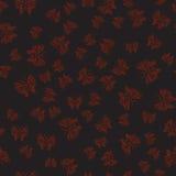 Zwart naadloos patroon met rode vlinders in hand-drawn stijl Royalty-vrije Stock Fotografie
