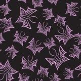 Zwart naadloos patroon met roze vlinders in hand-drawn stijl Stock Afbeelding