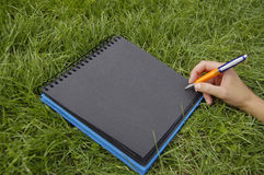 Zwart notitieboekje in gras royalty-vrije stock foto's