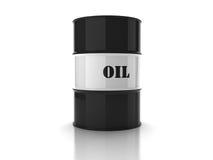 Zwart olievat met teken Stock Afbeelding