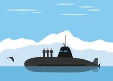 Zwart onderzees en ijzig landschap stock illustratie