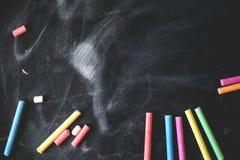 Zwart oud leeg bord voor exemplaarruimte met Stock Afbeelding