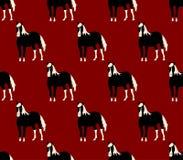 Zwart Paard op Rode Beeldverhaalachtergrond Vector illustratie Royalty-vrije Stock Foto's