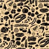 Zwart patroon naadloos van producten Stock Fotografie