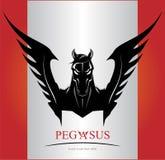 Zwart Pegasus-Paardhoofd stock illustratie