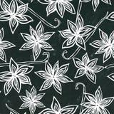 Zwart Raadsachtergrond en Krijt Het Naadloze Eindeloze Patroon van Anise Star Seed en van de Vanille Seizoengebonden voedselachte Royalty-vrije Stock Afbeelding