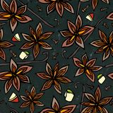 Zwart Raadsachtergrond en Krijt Het Naadloze Eindeloze Patroon van Anise Star Seed en van de Vanille Seizoengebonden voedselachte Stock Afbeeldingen