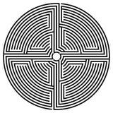 Zwart rond labyrint Royalty-vrije Stock Foto