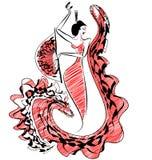 Zwart rood beeld van de danser van het cijferflamenco Royalty-vrije Stock Foto's