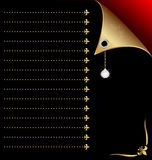 zwart-rood document met gouden hoek en kristal Stock Foto's
