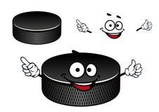 Zwart rubber het beeldverhaalkarakter van de ijshockeypuck royalty-vrije illustratie