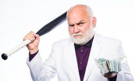 Zwart salaris Succesvolle zakenman rijkdom misdadiger en diefstal Schuldkuil de rijke rijpe mens heeft veel geld stock foto