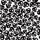 Zwart schedels naadloos patroon. Royalty-vrije Stock Afbeeldingen