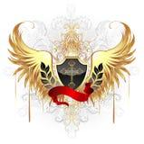 Zwart schild met gouden vleugels royalty-vrije illustratie