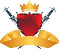 Zwart Schild met Kroon Royalty-vrije Stock Fotografie