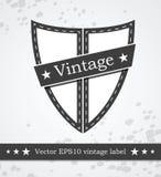 Zwart schildetiket met retro gestileerde wijnoogst Stock Fotografie