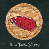 Zwart schoolbord Populairste Lapje vlees op een Ronde Houten Scherpe Raad Rundvleesbesnoeiing Vleesgids voor Slager Shop of Steak Royalty-vrije Stock Afbeeldingen