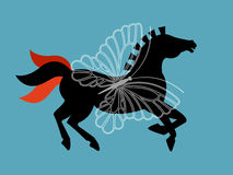 Zwart Schoonheids Grafisch Paard Stock Foto