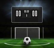 Zwart scorebord zonder score en voetbal royalty-vrije illustratie