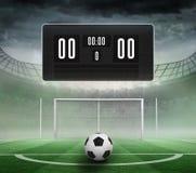 Zwart scorebord zonder score en voetbal stock illustratie