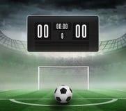 Zwart scorebord zonder score en voetbal vector illustratie