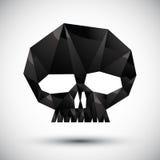 Zwart scull geometrisch die pictogram in 3d moderne stijl wordt gemaakt Stock Foto's