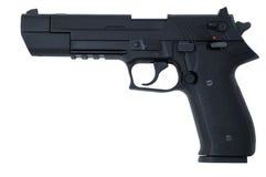Zwart semi automatisch pistool Royalty-vrije Stock Foto's