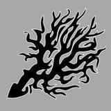 Zwart silhouet en contour van overzees die koraal op grijze achtergrond wordt geïsoleerd vector illustratie