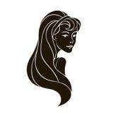 Zwart silhouet retro glimlachend meisje Royalty-vrije Stock Afbeelding