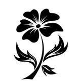 Zwart silhouet van bloem. Vectorillustratie. Stock Fotografie