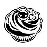 Zwart silhouet van cupcake. Stock Afbeelding
