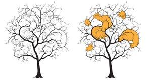 Zwart silhouet van een boom op een witte achtergrond, onder de takken verborgen contouren van een haan, een kip en drie kippen Royalty-vrije Stock Afbeeldingen