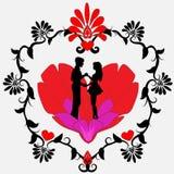 Zwart silhouet van een houdend van paar op een hart stock foto