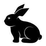 Zwart silhouet van een konijn Vector illustratie Royalty-vrije Stock Foto's