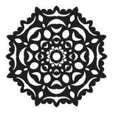 Zwart silhouet van een sneeuwvlok Kant, rond ornament en decor vector illustratie