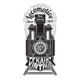 Zwart silhouet van gezichts oude locomotief met tekstlocomotief in rook Stock Afbeeldingen