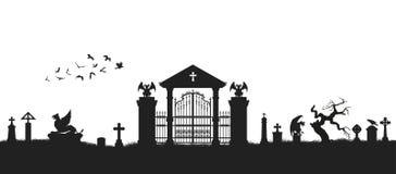 Zwart silhouet van gotische begraafplaats De oude Zwart-witte Bouw in Chester Kerkhof met poort, crypt en grafstenen De scène van royalty-vrije illustratie