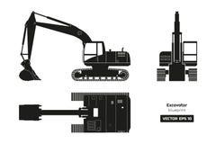 Zwart silhouet van graafwerktuig Hoogste, zij en vooraanzicht Diesel graafblauwdruk Hydraulisch machinesbeeld royalty-vrije illustratie